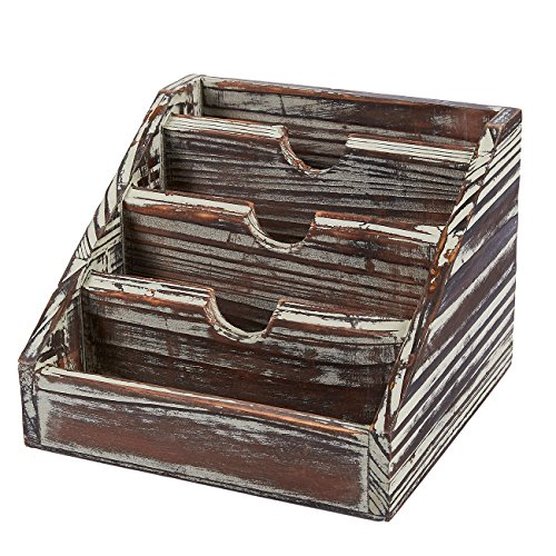 (Wooden Mail Organizer - 4 Compartments Small Rustic Wood Desk Storage Organizer Caddy, Vertical Letter Mail Sorter, Natural Wood, 6.68 x 5 x 6.6 Inches)