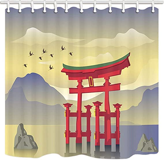 Wild Elk in Forest Bathroom Polyester Fabric Shower Curtain Set 12 Hooks 71inch