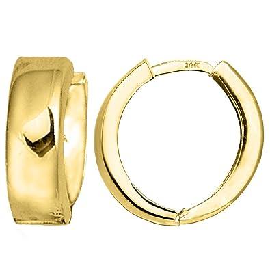 26f60365be012 14k Yellow Gold Snuggable Huggie Earrings, Diameter 15mm