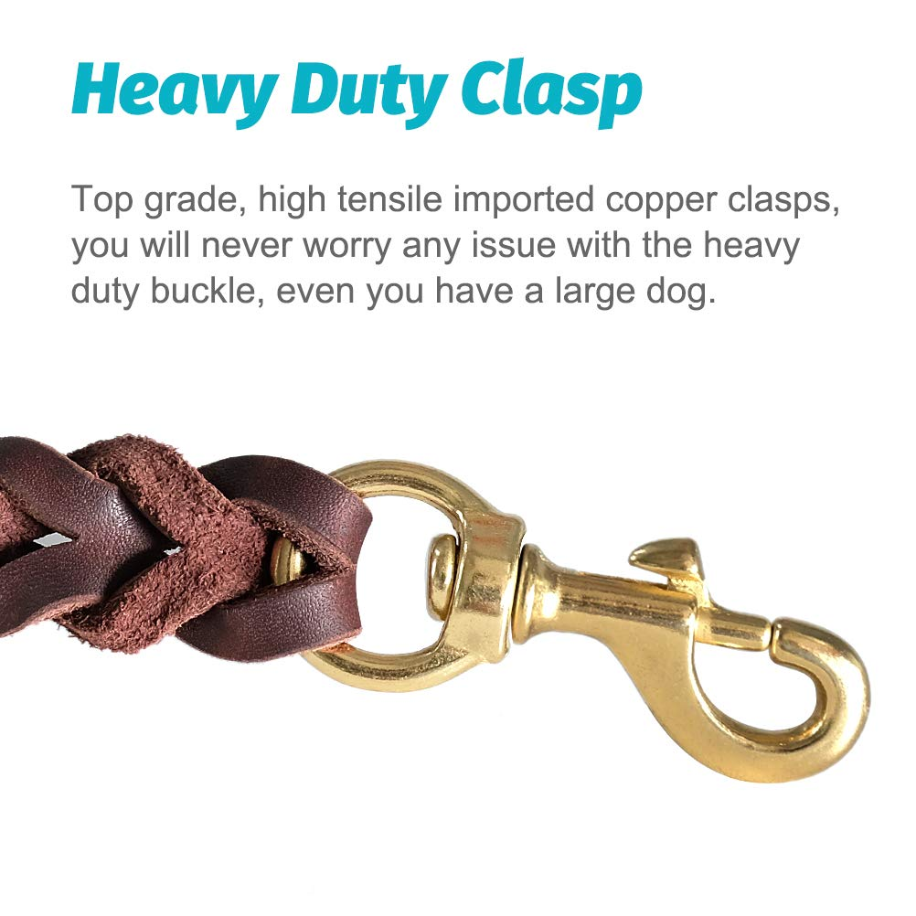 Fairwin Braided Leather Dog Training Leash 6 Foot - Best Dog Leather Leashes Heavy Duty for Large Small Dogs (3/4'' Width, Brown) 004 by Fairwin (Image #3)