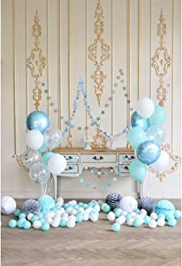 Leyiyi Indoors Living Room Scenery Backdrop 8x10ft Photography Backdrop Colorful Balloon Retro Wall Pattern Decor Birthday Party Backdrop Photo Booth Props