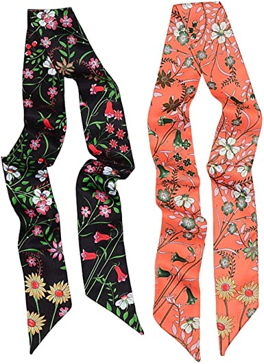 Women Scarf Hair Carriage Summer Silky Floral Wrap Skinny Handbag Print Headband