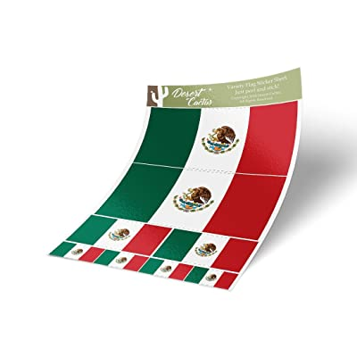 Desert Cactus Mexico Country Flag Sticker Decal Variety Size Pack 8 Total Pieces Kids Logo Scrapbook Car Vinyl Window Bumper Laptop Mexican V: Arts, Crafts & Sewing