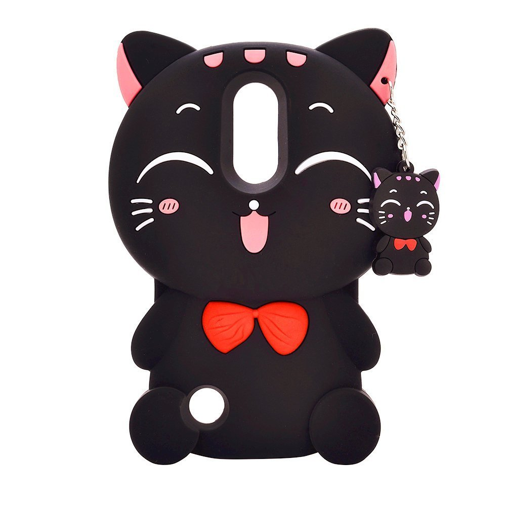 LG K10 2017 Case,LG Harmony Case, LG Grace Case, LG LV5 Case.LG K20 V Case, LG K20 Plus Case,Awin 3D Lucky Fortune Cat with Cute Bow Tie Soft Silicone Rubber Case (Black Fortune Cat)