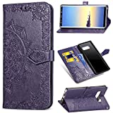 Find box Samsung Galaxy Note 8 Case Leather,Folio Flip Stand Case Wallet Case ID Credit Card [Kickstand Feature] Cover for Samsung Galaxy Note 8 Purple