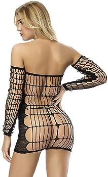 dd9546604 Sexy Lingerie for Women Strapless Fishnet Chemise Hot Mesh Mini Dress  Bodysuit