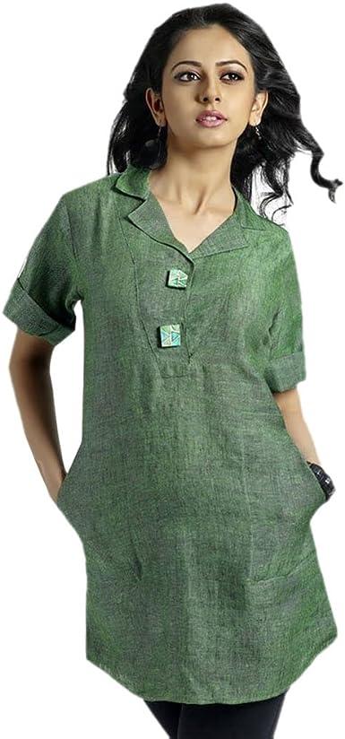 Jayayamala Black Cotton Tunic Short Sleeve Casual Dress