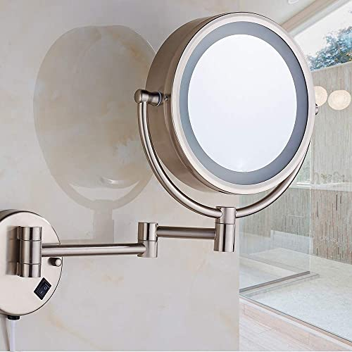 Cavoli Wall Mounted Makeup Mirror with LED Lighted 10x Magnification, 13 Extension Arm Magnifying Vanity Mirror,Brush Nickel Finish