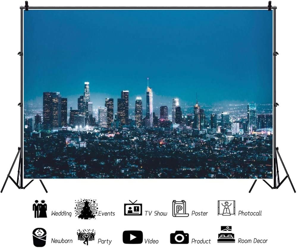 Leowefowa Panorama of New York City Nightscape Backdrop 10x6.5ft Vinyl Beautiful Cityscape Photography Background Child Adult Selfie Photoshoot Indoor Decors Wallpaper Event Bday Party Banner