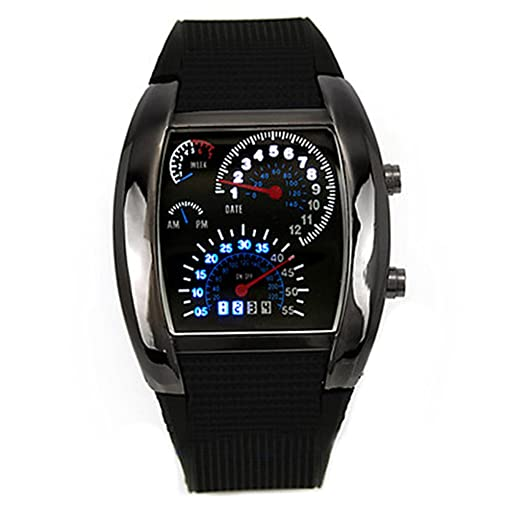 Amazon.com: Fashion Mens RPM Turbo Blue Flash LED Watch Gift ...