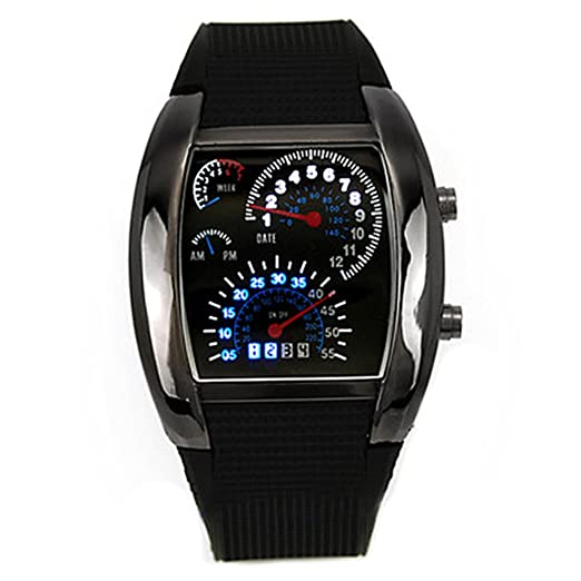 58fbb9bda65 Image Unavailable. Image not available for. Color  Fashion Mens RPM Turbo  Blue Flash LED Watch Gift Sports Watches ...