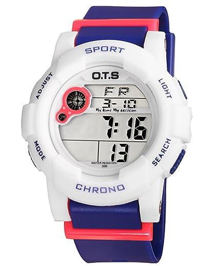 OTS - Reloj Digital Deportivo con Alarma Impermeable Luminoso de Cuarzo Cronómetro para Niños Niñas y Estudiantes - Color Púrpura: Amazon.es: Relojes
