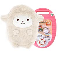 Drizzle Hot Water Bottle with Cute Sheep Cover Portable Premium Classic PE Material Warmer Great for Pain Relief (1200ml,2 Colors) (White)