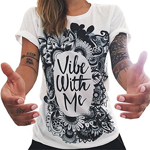 DaBag Donna Estate Maglietta Manica Corta Ragazza con Gli Occhiali Stampare Cotone Camicetta T-Shirt Casual Top
