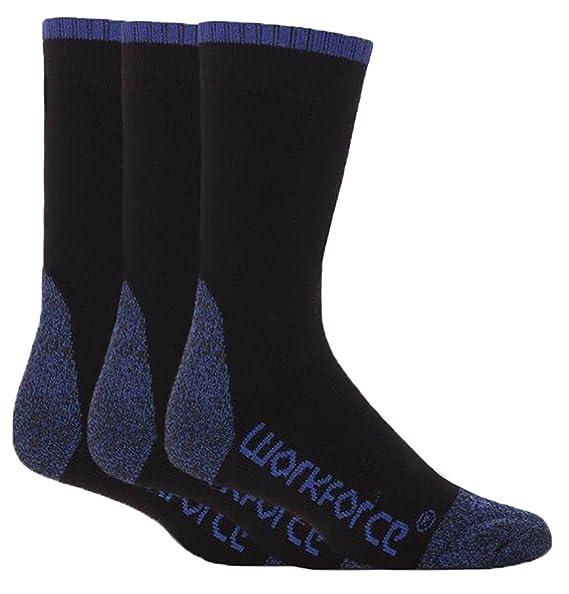 5fdff449e86 Workforce - 3 Pack Mens Thick Reinforced Heel Toe Work Socks for Steel Toe  Boots (
