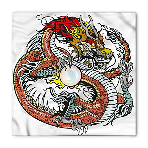 Ambesonne Dragon Bandana, Chinese Zodiac Signs, Unisex Head and Neck Tie ()