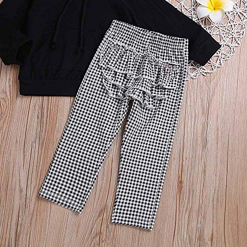 NUWFOR Toddler Baby Solid Ruffle Hoodie Tops+Plaid Pants+Headband Outfit Clothes (Black,12-18 Months by NUWFOR (Image #6)