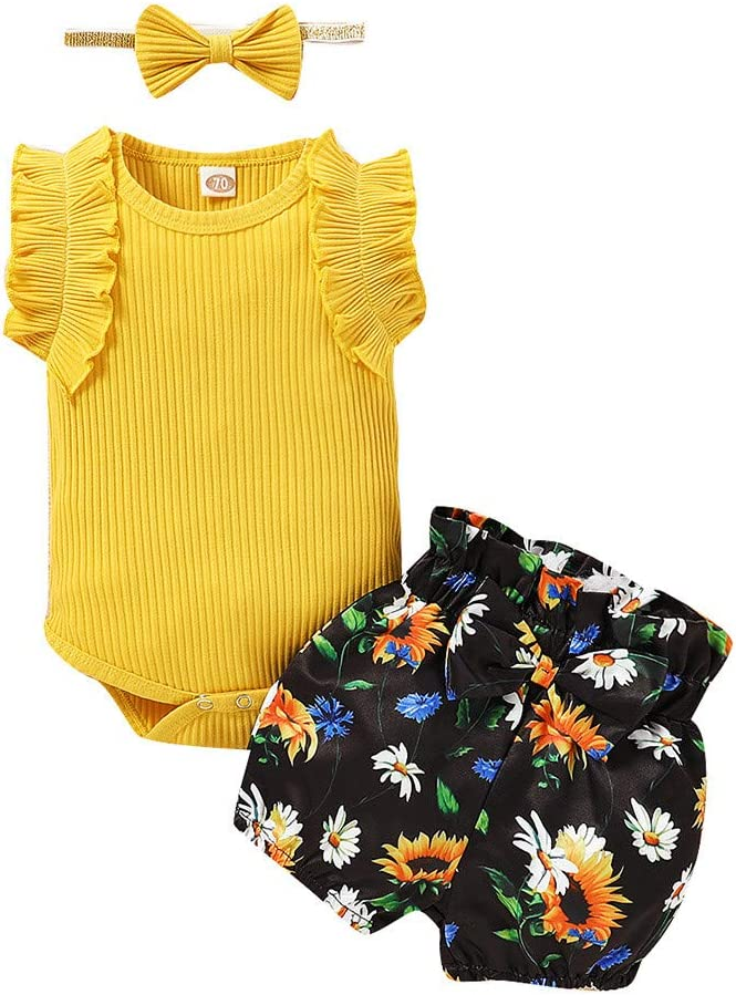 SIN+MON Infant Baby Girls Summer Three Pieces Clothing of Ruffles Bodysuit Romper+Floral Print Shorts+Headbands Outfits