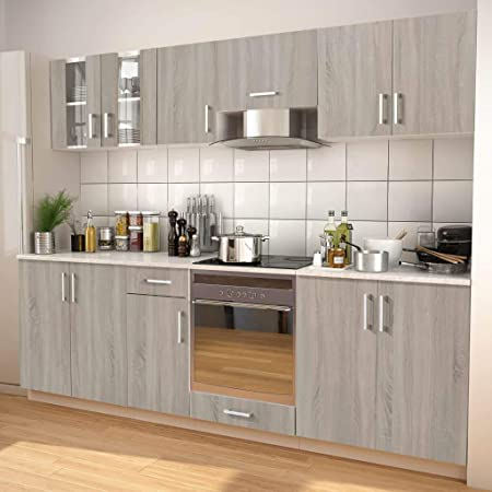 Tidyard - Armario de Cocina de Roble con cajones Modernos, Juego de armarios de Cocina de 8 Piezas, Muebles de Cocina de Aluminio y Lavable con Filtro antigrasa de 3 Capas: Amazon.es: Hogar