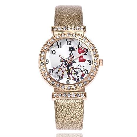 Vovotrade Mujer Moda Relojes de pulsera de cuarzo analógico redondo de cuero de la banda de ...