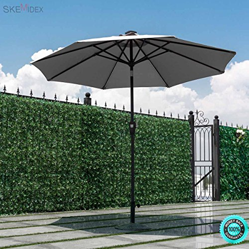 SKEMiDEX 9 FT Patio Solar Umbrella Tilt Deck Waterproof Garden Market Beach Gray Our umbrella features a popular color and stylish design that will live up any outdoor living space. Review