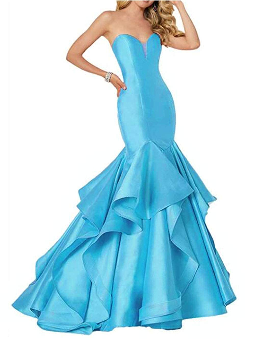 bluee alilith.Z Sexy Sweetheart Prom Dresses Mermaid Tired Satin Train Formal Evening Dresses Party Gowns for Women 2019