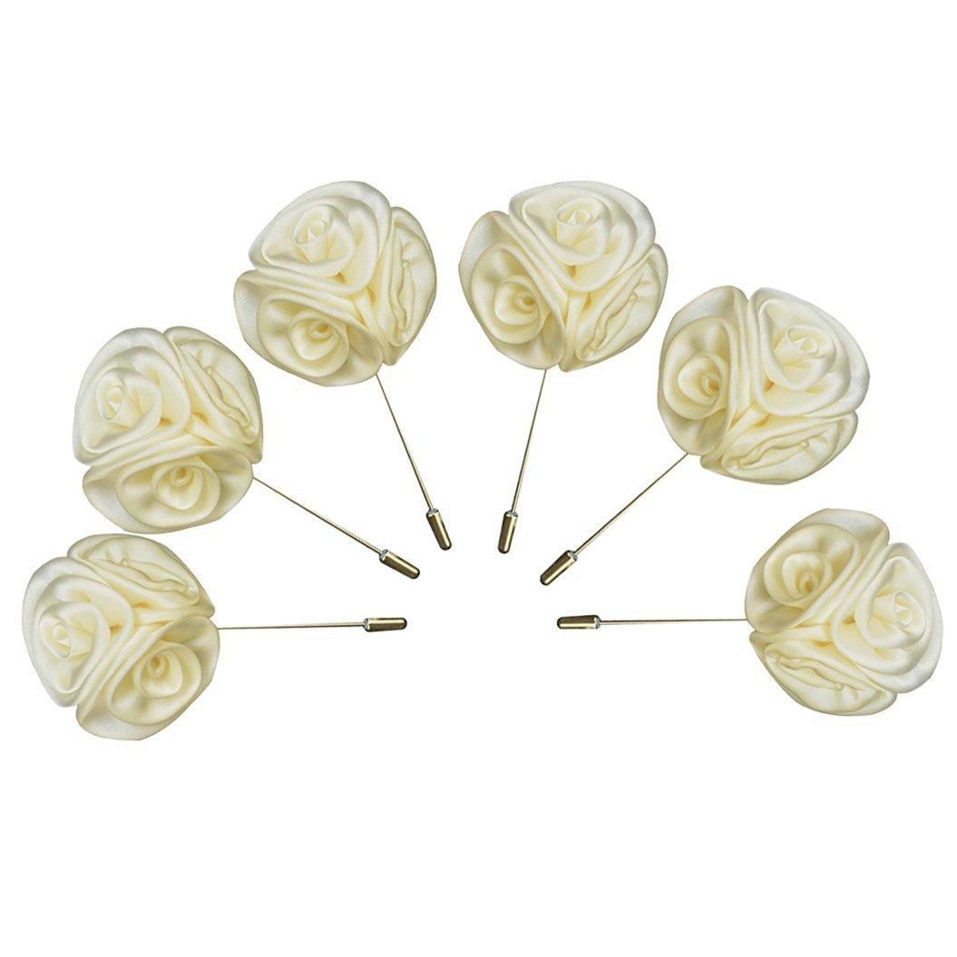 6PCs Men Lapel Pins Handmade Satin Flower Rose Boutonniere Set for Suits Wedding Party