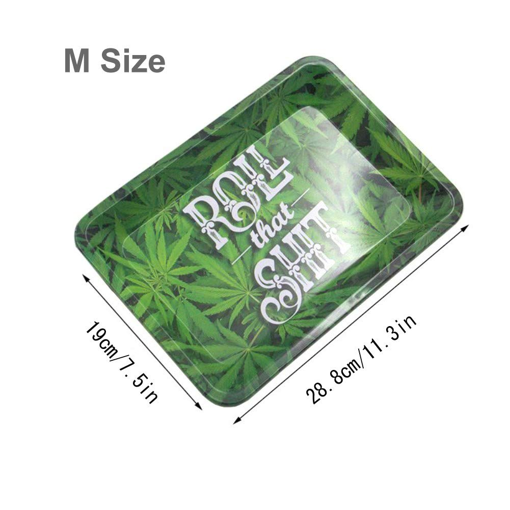 Reusable Essential Smoking Holder Trays Smoke Accessories Small Size and Medium Size 7 L x 5 W and 11.3 L x 7.5 W Ewolee Metal Rolling Tray