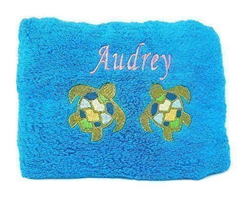 Personalized Beach Towel Embroidered Name and Sea Turtle Design