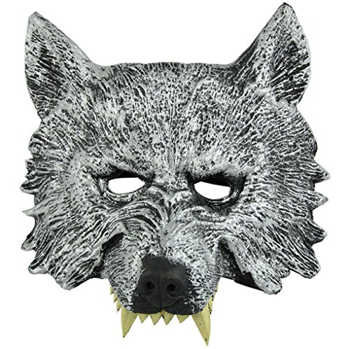 Cool Gray Wolf Animal Full Face Mask and Gloves for Halloween Masquerade Werewolf Cosplay Costume Party for Adult (Mask)