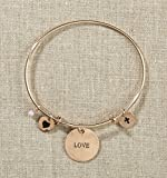 Set of 4 Grateful Heart Gold Bangle Bracelet with Love, Heart, Cross