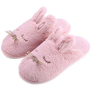eb72ac67d Bunny House Slippers-Fuzzy Warm Slippers Soft Plush Home Slippers Slip On Memory  Foam Slippers