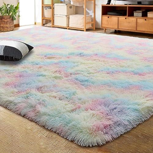 LOCHAS Luxury Velvet Shag Area Rug Mordern Indoor Plush Fluffy Rug