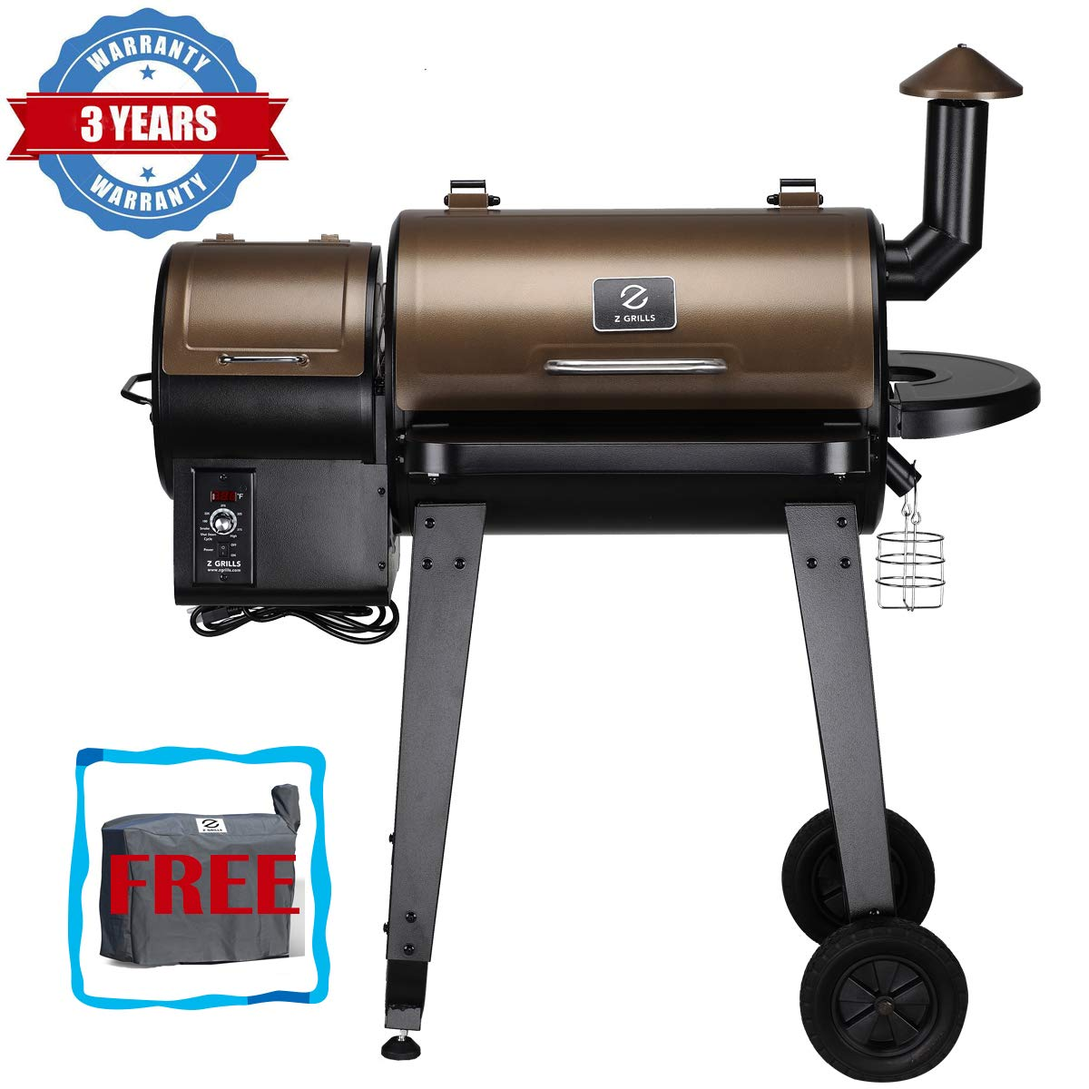 Z GRILLS Wood Pellet Grill and Smoker Ourdoor with Update Pid Controller 8-in-1 Outdoor Smoker Cover Included