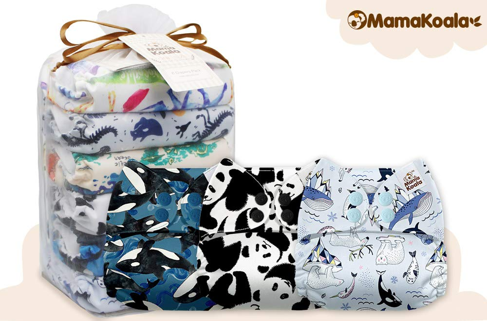 6 Pack with 6 One Size Microfiber Inserts Travel /& Friends Mama Koala One Size Baby Washable Reusable Pocket Cloth Diapers