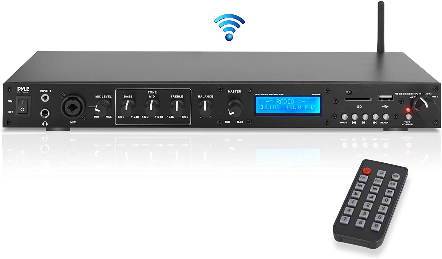 Pyle Pro Rack Mount Studio Pre-Amplifier - Audio Receiver System w/Digital LCD Display Bluetooth FM Radio Recording Mode Remote Control USB Flash or SD Card Reader Input and Output Jack - PPRE70BT