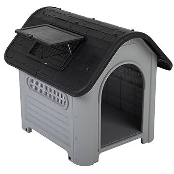Caseta de plástico rígido pequeña para perros, para exteriores: Amazon.es: Productos para mascotas
