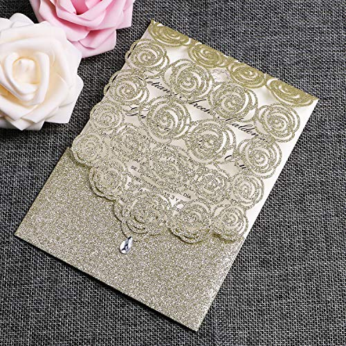 FEIYI 25PCS Laser Cut Invitations Cards Luxury Diamond Gloss Design with Pearl Paper Insert for Wedding, Bridal Shower, Engagement Birthday Graduation Invite (Champagne Gold Glitter)