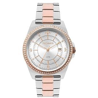 5a3b575dc0a Relógio Feminino Technos Elegance 2115MMP 5K - Prata Rosê  Amazon ...