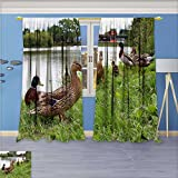 SCOCICI1588 Design Print Rod Pocket top Thermal Insulated Animal animal animal carving Linen Room Darkening Curtains W84'' x L96'' Pair