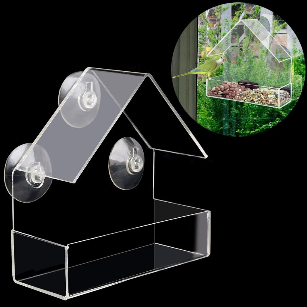 Clear House Window Bird Feeder Birdhouse W//Suction Outdoor Feeding 2021 O7X7