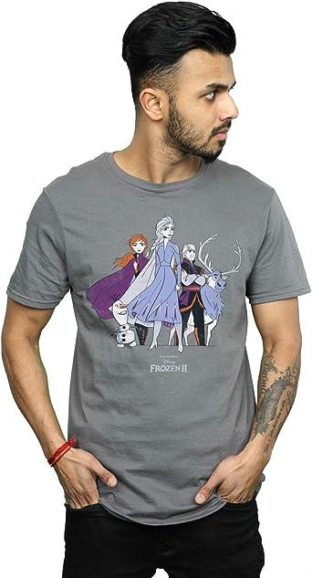 Disney Hombre Frozen 2 Distressed Group Camiseta: Amazon.es: Ropa y accesorios