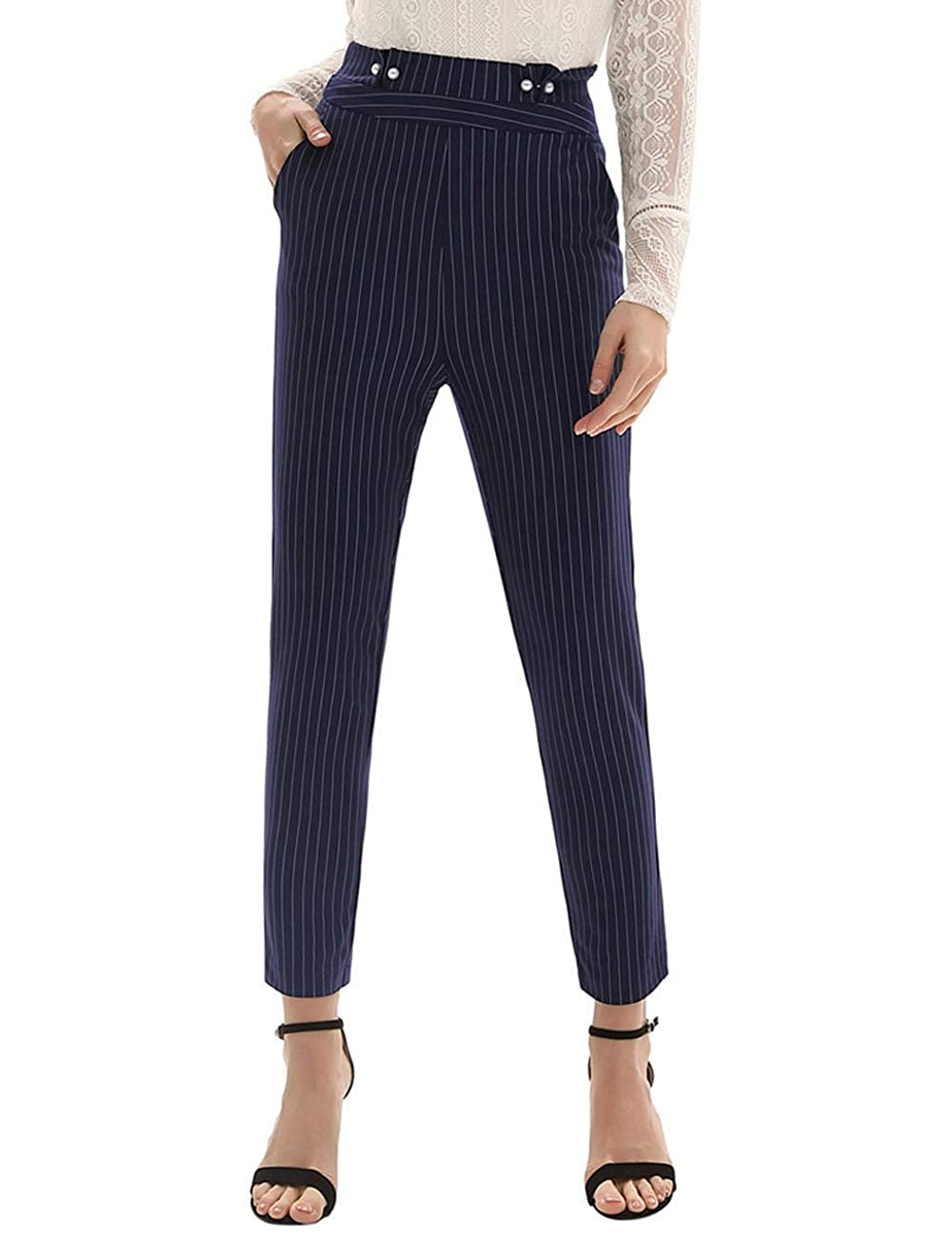 d13d1aefd32 GRACE KARIN Women's Pinstripe Elastic High Waist Slim Fit Loose Faux Pearl  Decorated Ankle Pants with Pocket