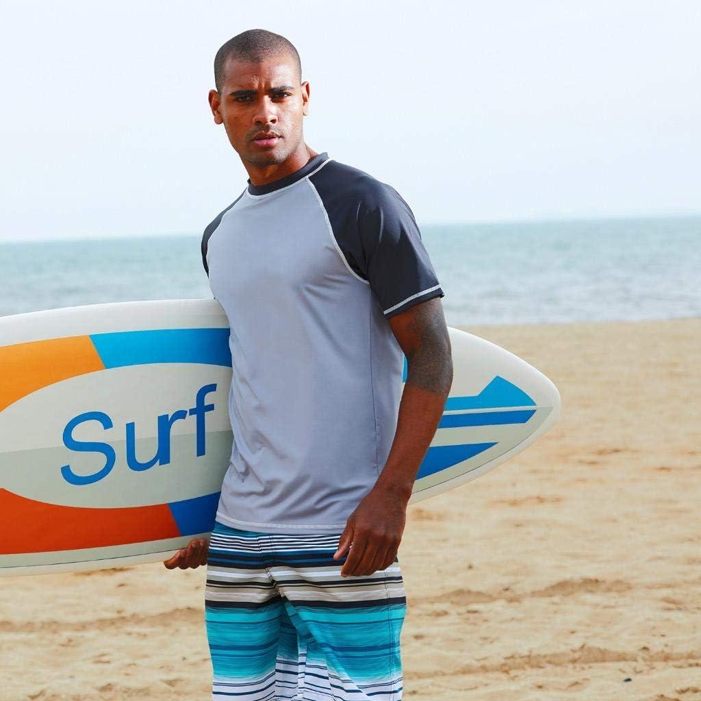 Arcweg Rashguard Mare Surf Uomo Maniche Corte Protezione Solare UV UPF 50 Asciugatura Veloce Maglia Anti UV Pescs Stile Sciolto Elastica Maglietta Piscina
