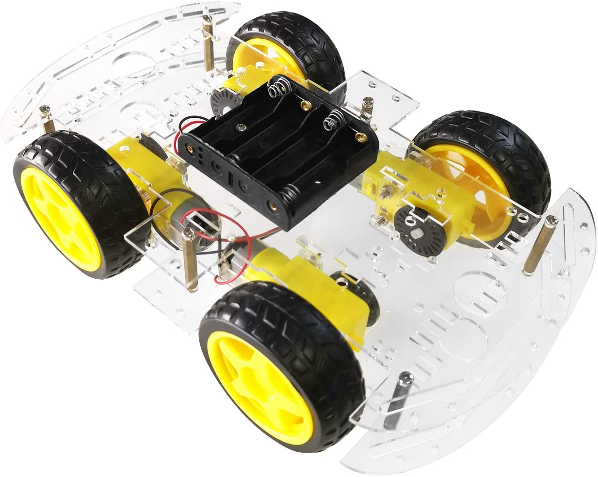 The perseids DIY Smart Motor Robot Kit Car Chassis, 4WD Chasis Robot Coche Kit con Encoder de Velocidad para Arduino (Cuatro Ruedas)