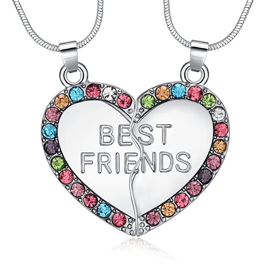 ElOI Best Friend Necklaces Heart 2 Piece Gifts for Teen Girls 18 Inch Necklace Set