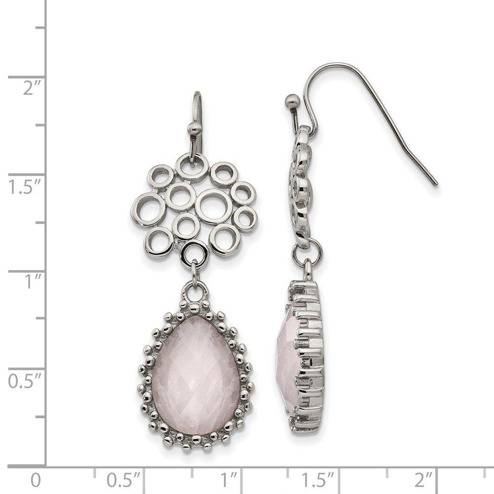 Stainless Steel Polished Rose Quartz Shepherd Hook Earrings Length Width