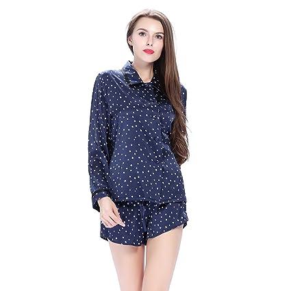 Lilysilk Pijamas de Seda de mujer juego de pantalón corto con muescas cuello azul marino de