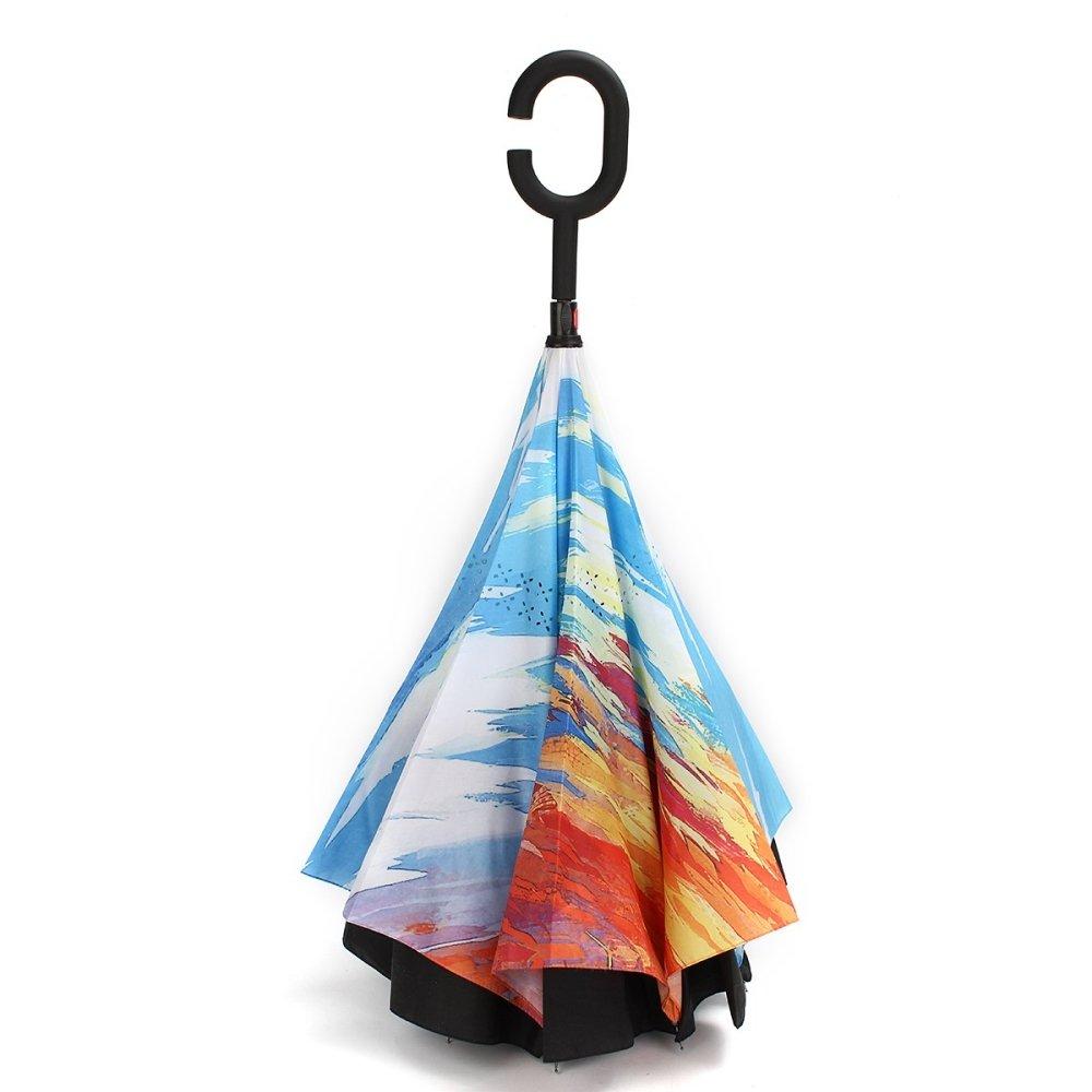 icase4u® Qualitäts Double Layer Inverted Regenschirm stabil winddicht mit 105cm Durchmesser, wasserabweisende, klein, leicht Tragen kompakt Taschenschirm für Auto (2017 neu-1)