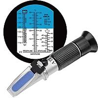 HHTEC 4-in-1 Frostschutz Refraktometer Ethylenglykol, Propylenglykol, für Gefrierpunkt von Kühlwasser, Scheibenwasser, AdBlue, Batterie, mit Bedienungsanleitung in Deutsch